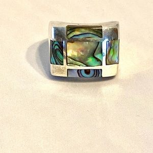 Sterling Cuff ring with Labradorite.